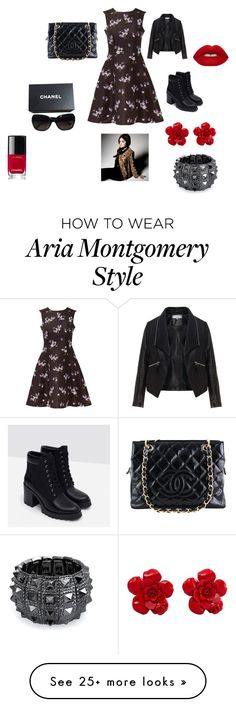 """""""Aria Montgomery Outfit"""" by jessicaloredana on Polyvore featuring RED Valentino, Zizzi, Zara, Chanel, Bling Jewelry and Lime Crime"""