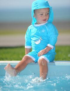 Turquoise swimwear is beautiful in the sun. Baby UV Suit, top sun protection, matching hat, cute! @Carrie Mcknelly Toombs