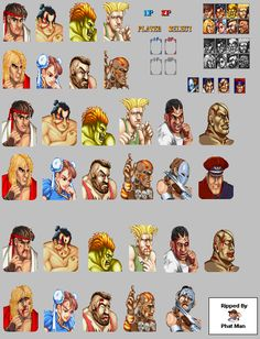 Player Select - Street Fighter 2 Street Fighter 2 Snes, Super Street Fighter 2, Cammy Street Fighter, Street Fighter Characters, Perler Bead Art, Hama Beads, Video Game Sprites, Looney Tunes, Pixel Art