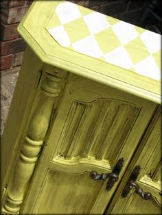 love the paint treatment on the before and after cabinet
