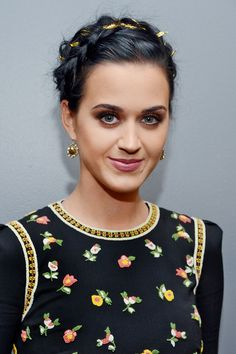 katy perry crown braid with ribbon