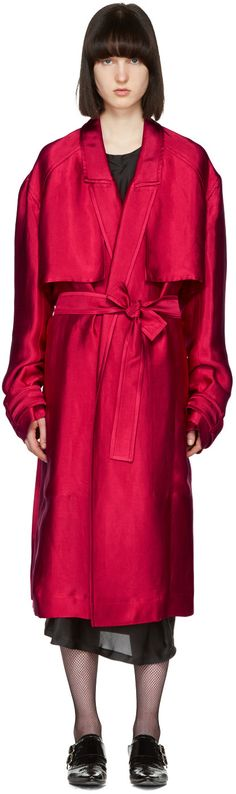 Long sleeve linen and silk-blend twill trench coat in 'raspberry' pink. Notched lapel collar. Storm flaps at front yoke. Open front. Detachable self-tie belt and welt pockets at waist. Detachable buttoned strap at cuffs. Rain shield at back yoke. Twin vents at back hem. Welt pockets at partially lined interior. Tonal stitching.