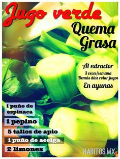 Jugo Verde Quema Grasa... de Habitos.mx Healthy Juices, Healthy Smoothies, Healthy Drinks, Healthy Tips, Juice Smoothie, Smoothie Drinks, Detox Drinks, Protein Diet Plan, Workout Bauch