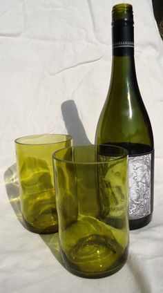 Set of 2 - more intimate!  Upcycled Wine Bottle Glasses made from by ConversationGlass, $18.00