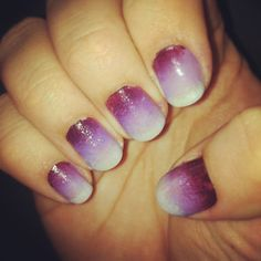 Ombré nails: Did these myself! Super easy. Pain base coat.  Tape around nails (for easy cleanup) Paint 3 stripes onto a makeup sponge.  Sponge onto nails - I did two coats or until nail is covered how you like it.  Add top coat to smooth design.  Remove tape and clean up edges!