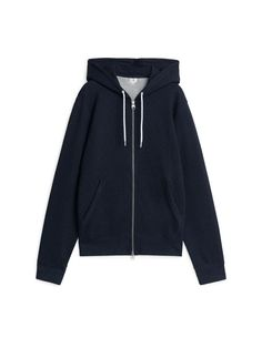 Pima Cotton Sweatshirt Hoodie - Blue Melange - Tops - ARKET PL