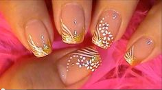 Special Occassion Nail Art Design Tutorial GOLD & WHITE