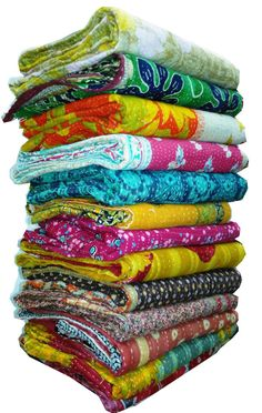Vintage Kantha Quilt Handmade Cotton Throw Blanket Bedding wholesale 10 pc Set #Handmade #Traditional