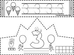 Printable Cut-out Birthday Crown Coloring Page Numbers Kindergarten, Numbers Preschool, Kindergarten Worksheets, Teaching Math, Math Activities, Toddler Activities, Preschool Activities, Crown Crafts, Science Writing