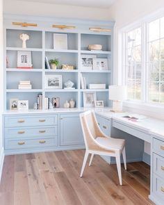 Traditional Home Office with light blue built-ins Home Office Design, Home Office Decor, Home Decor, Office Ideas, Home Office Lighting, Office Inspo, Office Built Ins, Study Office, Style Me Pretty Living