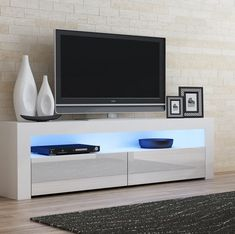Ranallo Contemporary TV Stand for TVs up to Living Room Tv Unit, Living Room Storage, Living Room Decor, Tv Wall Design, Tv Unit Design, Muebles Rack Tv, Contemporary Tv Stands, White Tv Stands, Simple Tv