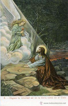 7 postales antiguas ilustradas, del Padre Nuestro, en color (reproducción) (Postales - Religiosas y Recordatorios)