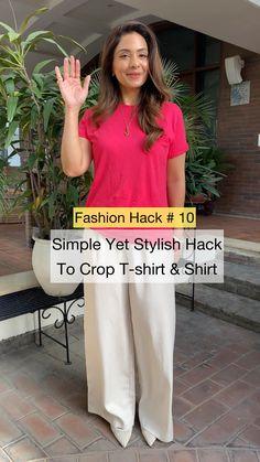 Diy Clothes Life Hacks, Clothing Hacks, Shirt Refashion, T Shirt Diy, Diy Fashion Hacks, Fashion Tips, Simple Kurta Designs, T Shirt Hacks, Diy Summer Clothes