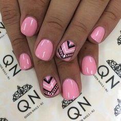 bubble gum pink nails with Aztec design