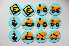 12 edible construction trucks vehicle fondant cupcake cake cookie topper
