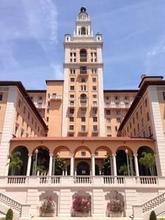 "The Biltmore Hotel, Coral Gables, Florida.  On January 15, 1926 the Biltmore Hotel debuted with a magnificent inaugural ceremony that promised to be the social event of the year.  The leading socialites of the Northeast came down on trains marked ""Miami Biltmore Specials"". As Champagne flowed and three orchestras played the Giralda Tower was lit for the first time and could be seen from miles around."