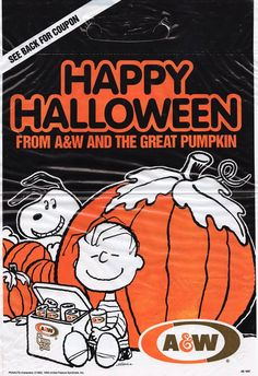 """Vintage Halloween ad for A&W Rootbeer featuring """"Peanuts"""" characters Linus and Snoopy. This is a tie-in with the 1966 television special """"It's the Great Pumpkin, Charlie Brown."""" I like the implication here that Linus got rootbeer from the Great Pumpkin."""