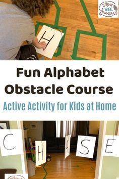 We had so much fun with this alphabet obstacle course for kids at home! Lots of fun and learning with this activity. Kids Learning Activities, Alphabet Activities, Fun Learning, Preschool Alphabet, Kids Obstacle Course, Kindergarten Age, Learning The Alphabet, Skills To Learn, Gross Motor Skills