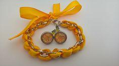 Magnifique ensemble bracelet et boucles d'oreilles , avec ruban de satin jaune : Parure par nessymatriochka