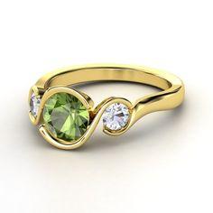 Round Aquamarine Palladium Ring with Diamond - lay_down