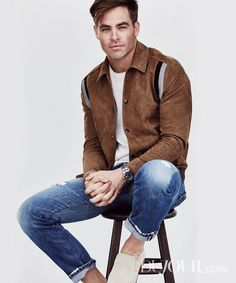 Chris Pine on DuJour cover and opens up about his Wonder Woman . Woman Knitwear and Sweaters chris pine wonder woman sweater The Finest Hours, Chris Pine 2016, Cris Pine, Men Photoshoot, Poses For Men, Suede Jacket, Leather Jacket, Distressed Denim, Vintage Outfits