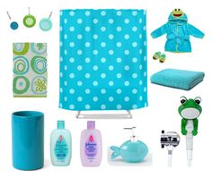 """Blue And Green Kids Bathroom Decor"" by kelly-cavender ❤ liked on Polyvore featuring interior, interiors, interior design, hogar, home decor, interior decorating, Jonathan Adler, Abyss, Creative Bath Products y Allure Home Creation"