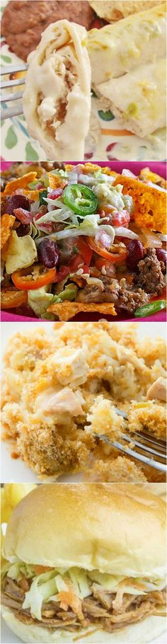 Meal Plan Sunday recipes include: Chicken and Rice Casserole, Dorito Taco Casserole, Roasted Chicken, Creamy Chicken Enchiladas, Crock Pot Pulled Pork and Easy Stir Fry! #dinner #recipes #ideas
