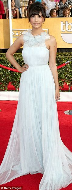 New Girl's Hannah Simone  was ethereal in her duck egg draped tulle Marchesa gown with feather flowered neckline | SAG 2014