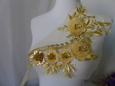 Gold Lace Applique with Sequins for Bridal Cap, Prom Dress, Jewelry Design Beaded Trim, Beaded Lace, Lace Trim, Bridal Hair Flowers, Bridal Lace, Unique Jewelry, Jewelry Design, Polka Dot Fabric, Christening Gowns