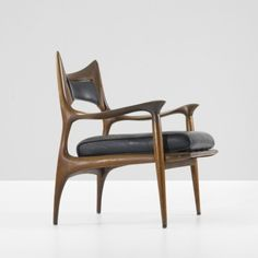"andreperron: "" PHILLIP LLOYD POWELL lounge chair - USA, c. 1960, carved walnut, leather """