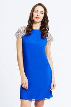 Blue Embroidered Shoulder Dress