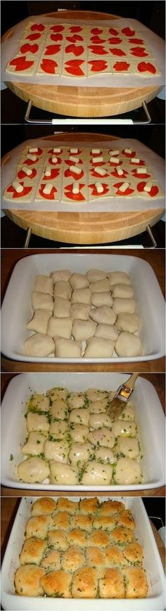 Stuffed Pizza Rolls. Kim- I made these for a dinner party, they were a hit. I would use less garlic than it says and I used one Pillsbury pizza dough. Baking time was off, it took about 25 mins or so (I can't really remember) but way longer that the 10 mins it says.