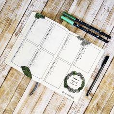 Bullet journal weekly layout, vertical dailies, plant drawings. | @rachelbujo