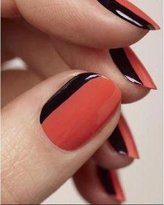 Orange & black nail polish, uñas, decoración, trends 2013
