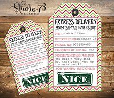 """FREE Editable and Printable Christmas Gift Tag From Santa's Workshop - """"Nice"""" tag."""