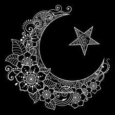Religious islamic symbol of the star and the crescent with flower in mehndi style. decorative sign for making and tattoos. Estilo Mehndi, Mandala Drawing, Mandala Tattoo, Mandala Art, Tattoo Etoile, Henna Designs, Tattoo Designs, Mehndi Style, Decorative Signs