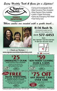 Signature Smile Family Dentistry in Indy has coupons in the November issue of My Neighborhood Source. Expire 1/31/14 Print & Save!