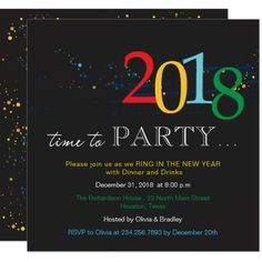 2018 new years party invitation