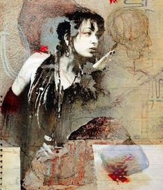 Jaya Suberg, I was born in 1956 in Hagen, and have liv. Unusual Art, Psychedelic Art, Figure Painting, Portrait Art, Art Techniques, Figurative Art, Art Pictures, Collage Art, Photo Art