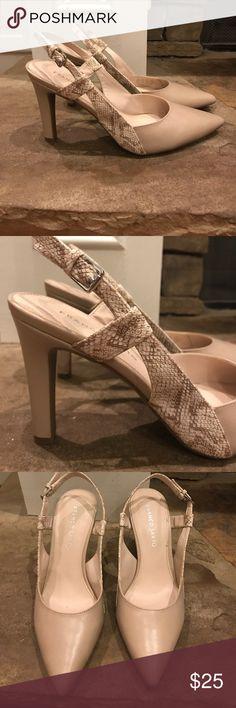 Beige pumps Beige 3 inch heel pumps with tan snake skin accents. Never worn. Size 8.5. Franco Sarto Shoes Heels