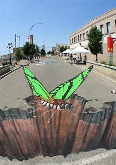 Butterfly chalk drawing.