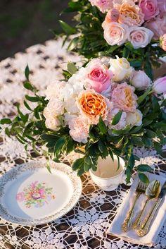 gold tableware vintage floral china bridal inspiration