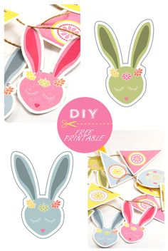 DIY easter decoration garland (free printables - mix them with your own creations) Easter Printables, Party Printables, Free Printables, Happy Easter, Easter Bunny, Diy Osterschmuck, Bunny Party, Diy Easter Decorations, Easter Activities