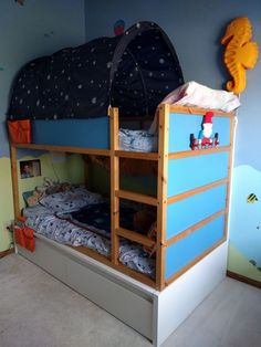 A clever addition turns the KURA into a storage bunk bed