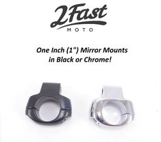 "1"" Handlebar 8mm Mirror Mounts Custom Black Chrome 1 in Victory Buell 2FastMoto 