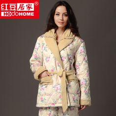 c5c5c5a2940 autumn and winter women s thickening cotton-padded floral print super soft coral  fleece pajama sets free shipping  73.90