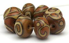 Handmade+Lampwork+Bead+Set+Organic+Brown+Scrolls+by+beadabundant,+$24.00