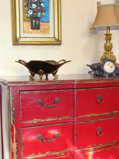 Red Dresser Design, Pictures, Remodel, Decor and Ideas Red Painted Furniture, Chalk Paint Furniture, Refurbished Furniture, Furniture Projects, Furniture Makeover, Vintage Furniture, Home Furniture, Red Distressed Furniture, Distressed Dresser