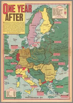 Map published in the American newspaper Sunday News on May 1946 about the territorial situation in Europe one year after the end of the World War II. Modern History, European History, World History, World War Ii, British History, Ancient History, American History, Native American, Norway Sweden Finland
