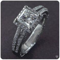 Verragio square halo diamond engagement wedding band set #diamondsdirect